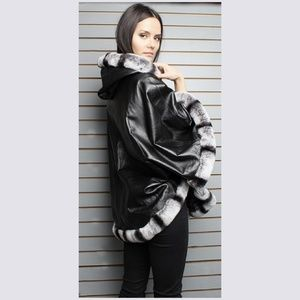 0e4614b54d09 Marc Kaufman Furs Jackets   Coats - Black Leather Cape Hood Rex Chinchilla  Fur Trim.